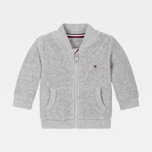 BLUZA BABY VELOURS ZIP GREY HEATHER TOMMY HILFIGER