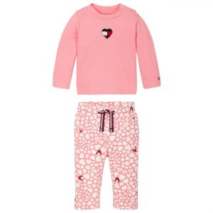 ZESTAW BABY PRINTED SET ROSEY PINK HEART TOMMY HILFIGER